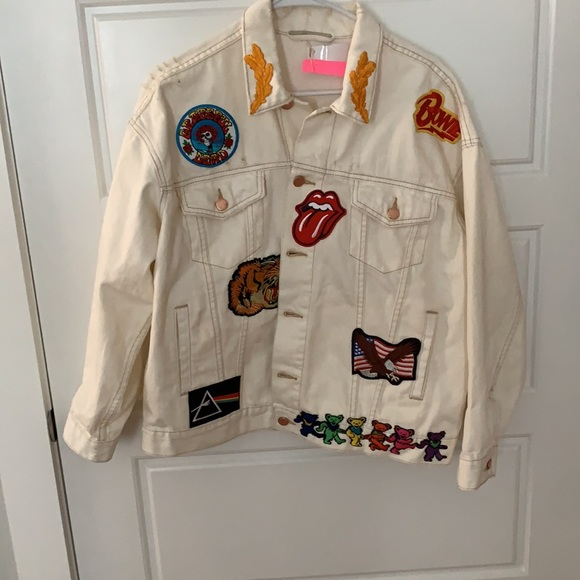 Custom Free People Patched White Denim Jacket